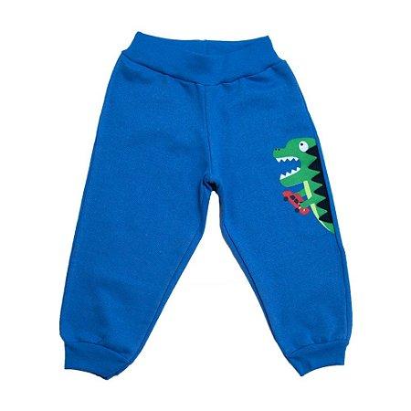 Calça Infantil Aplique Dino Kibs Kids Azul