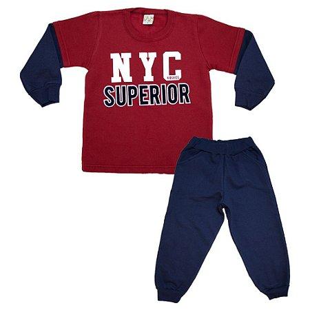 Conjunto Infantil New York Kibs Kids Marinho e Vermelho