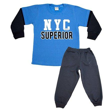 Conjunto Infantil New York Kibs Kids Azul e Preto
