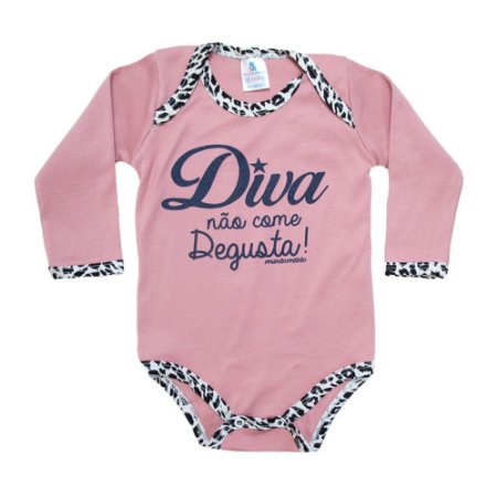 Body Bebê Frase Diva Mundo Miúdo  Rosê