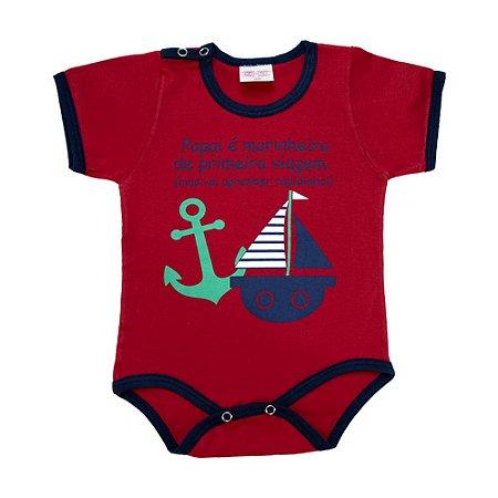 Body Bebê Frase Papai é Marinheiro Kentury Vermelho