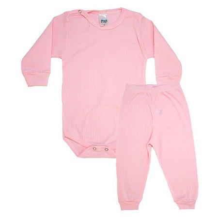 Conjunto Bebê Canelado Liso Pho Rosa