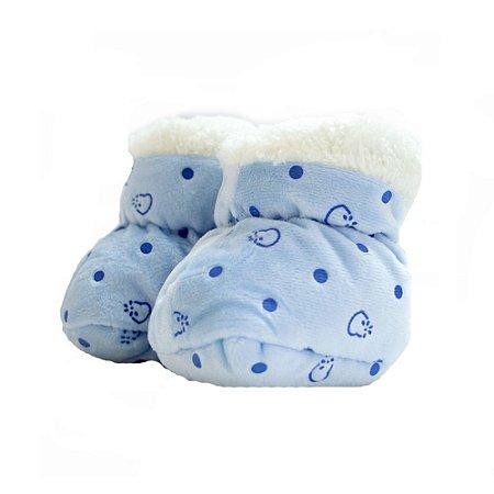 Sapatinho Pantufa Bebê Poá Jeito Infantil Azul