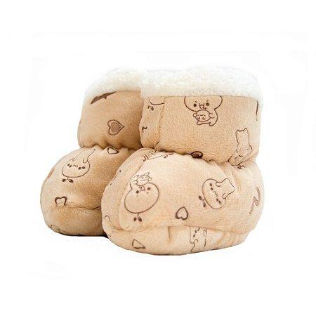 Sapatinho Pantufa Bebê Ursinho Jeito Infantil Bege