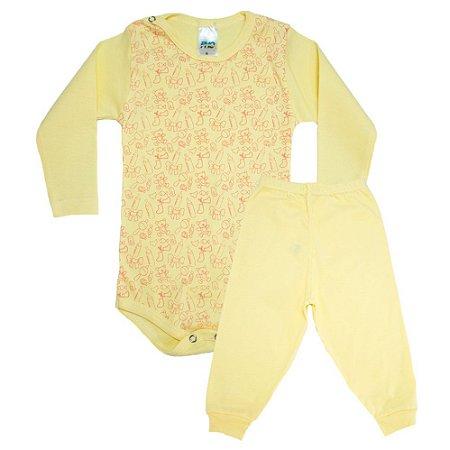 Conjunto Bebê Body Ursinhos Pho Amarelo