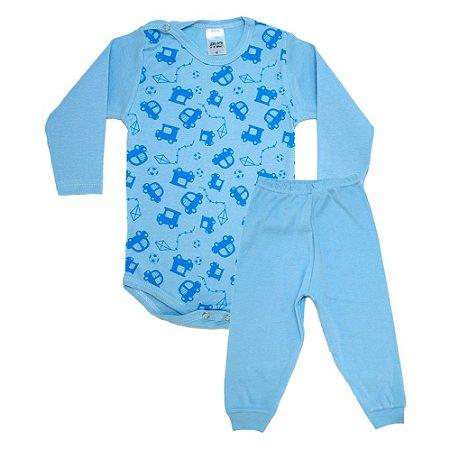Conjunto Bebê Body Carrinhos  Pho Azul