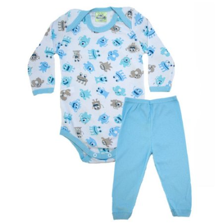 Conjunto Bebê Body Monstrinhos  Jeito Inocente Branco e Azul