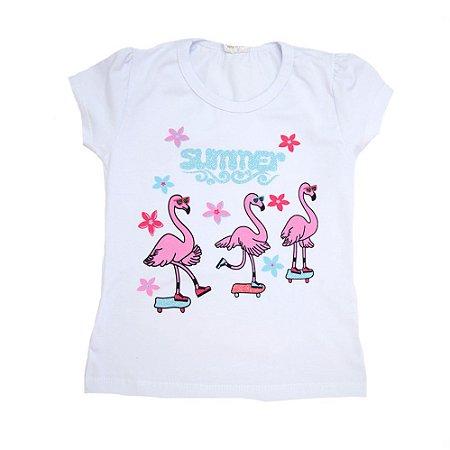 Blusa Infantil Flamingos Hsa Branca