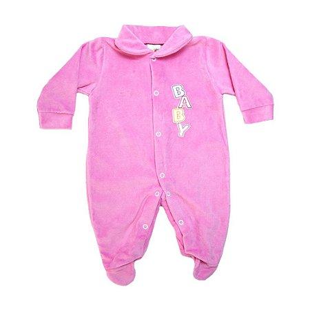 Macacão Bebê Aplique Baby Isensee Rosa