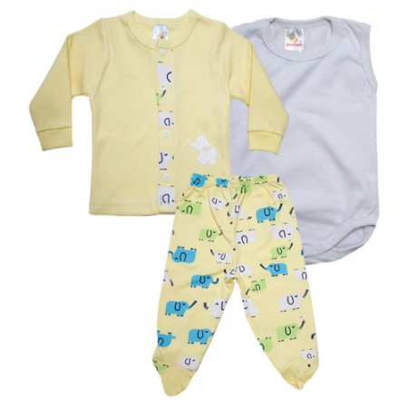 Conjunto Bebê Pagão 03 Peças Isensee Amarelo