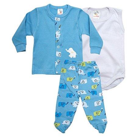 Conjunto Bebê Pagão 03 Peças Isensee Azul