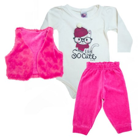 Conjunto Bebê Cat Big Day Pérola e Pink