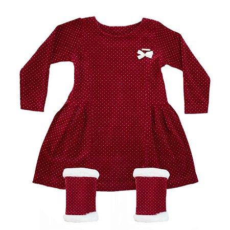 Vestido Infantil Com Polaina Big Day Vermelho