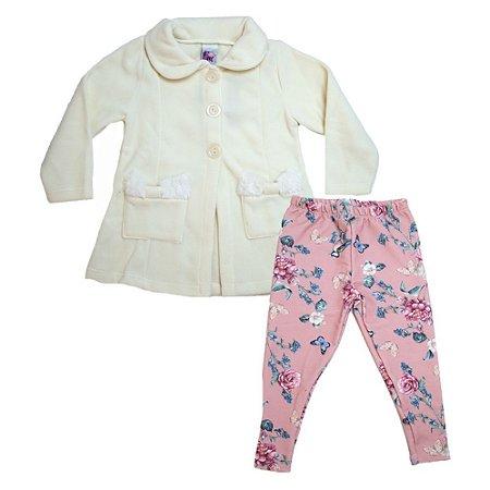 Conjunto Infantil Blazer e Legging Big Day Pérola e Rosê