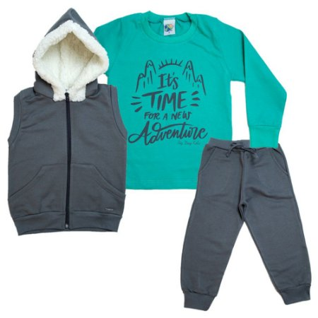 Conjunto Infantil It's Time Adventure Big Day Chumbo e Verde