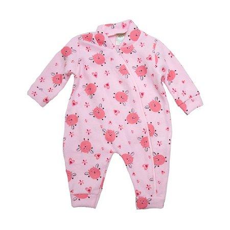 Macacão Bebê Soft Porquinha  Jeito Inocente Rosa
