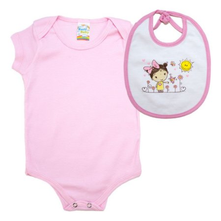 Kit Bebê Body e Babador Estampado Sati Baby Rosa Claro