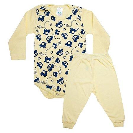 Conjunto Bebê Body Carrinhos  Pho Amarelo e Azul
