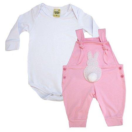 Conjunto Bebê Jardineira Sonho Do Bebê Branco e Rosa