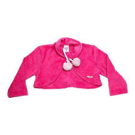 Bolero Soft Bebê/Infantil Com Pompom Sonho do Bebê Pink