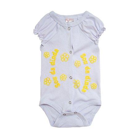 Body Bebê Sou Da Dinda Andrinaty Branco com Amarelo