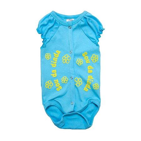 Body Bebê Sou Da Dinda Andrinaty Azul e Amarelo