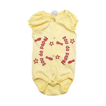 Body Bebê Sou Do Papai Andrinaty Amarelo com Vermelho