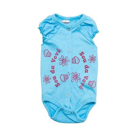 Body Bebê Sou Da Vovó Andrinaty Azul Com Pink