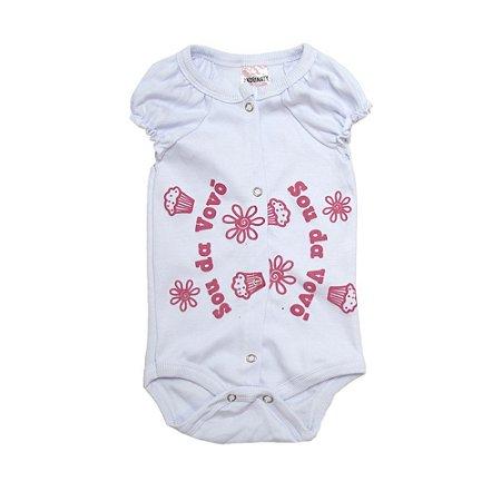 Body Bebê Sou Da Vovó Andrinaty Branco Com Pink