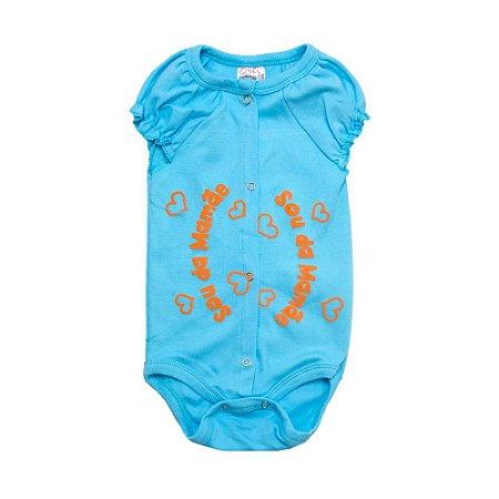 Body Bebê Sou Da Mamãe Andrinaty Azul Com Laranja