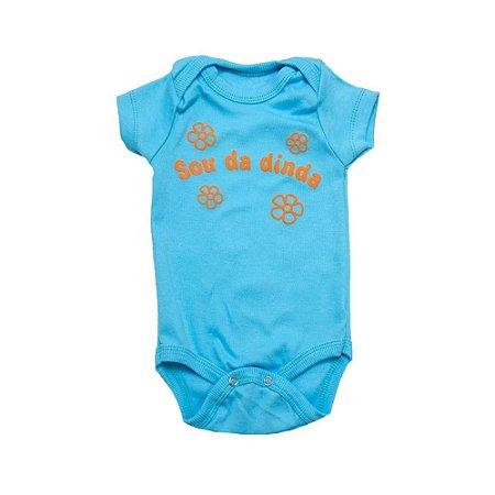 Body Bebê Sou Da Dinda Andrinaty Azul Com Laranja