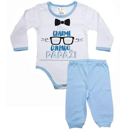 Conjunto Bebê Frase Meu Charme Fantoni Azul