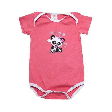 Body Bebê Panda Lolitas Salmão Com Branco