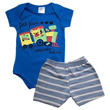 Conjunto Bebê Body Trenzinho e Shorts Listrado Lolitas Azul