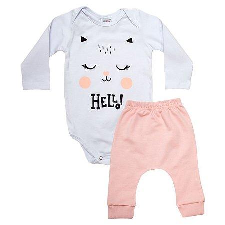 Conjunto Bebê Body e Calça Gatinha Uni Duni Salmão