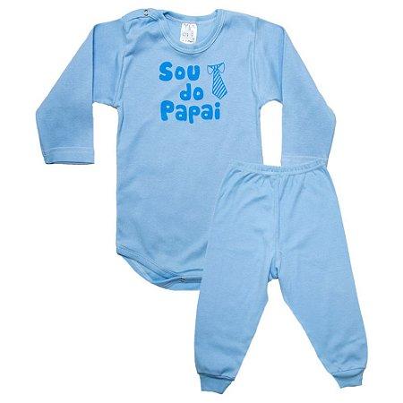 Conjunto Bebê Body Sou Do Papai Pho Azul