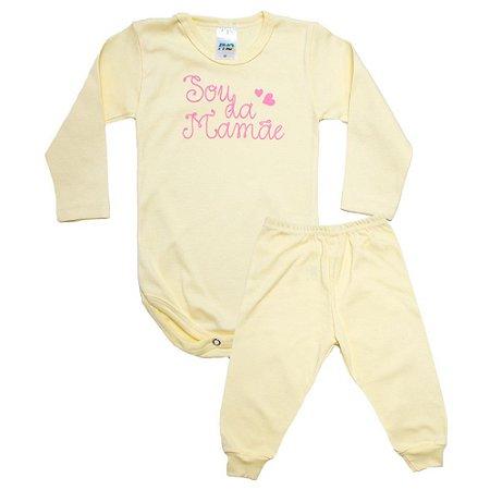 Conjunto Bebê Body Sou Da Mamãe Pho Amarelo Com Rosa