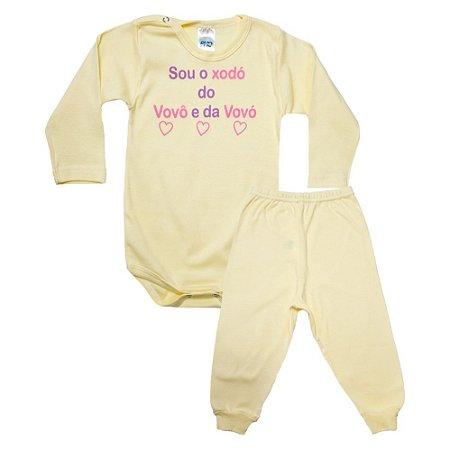 Conjunto Bebê Body Xodó do Vovô e Da Vovó Pho Amarelo Com Rosa