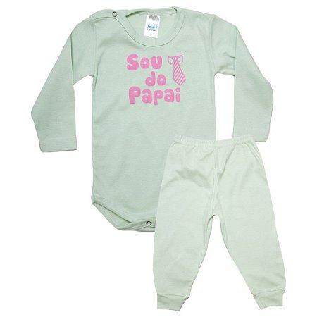 Conjunto Bebê Body Sou Do Papai Pho Verde Com Rosa