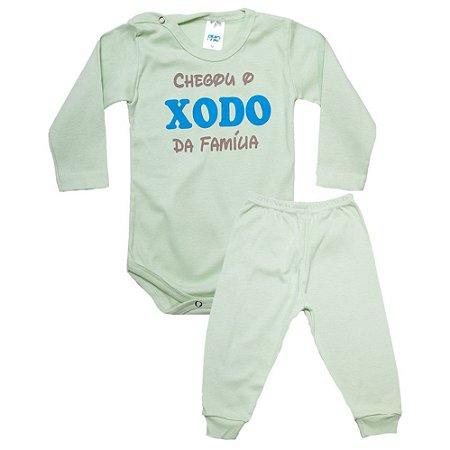 Conjunto Bebê Body Xodó Da Família Pho Verde Com Azul