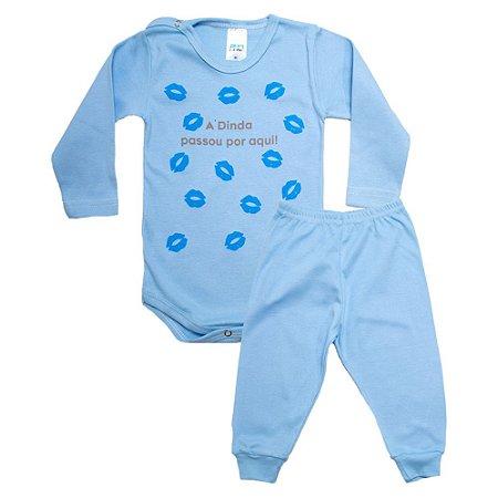 Conjunto Bebê Body Dinda Passou Por Aqui Pho Azul