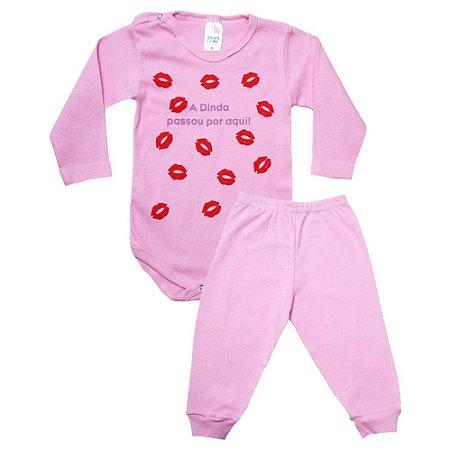Conjunto Bebê Body Dinda Passou Por Aqui Pho Rosa