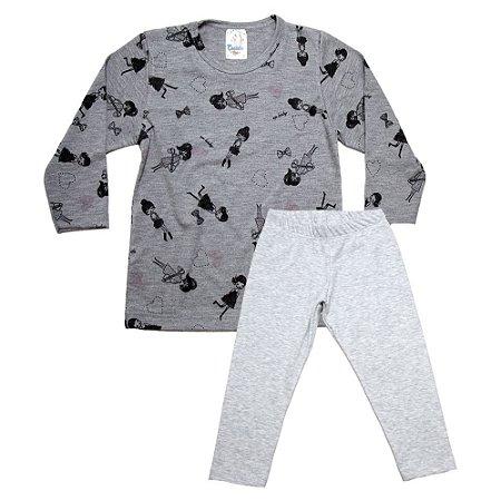 Pijama Infantil Menina Castelo Kids Mescla