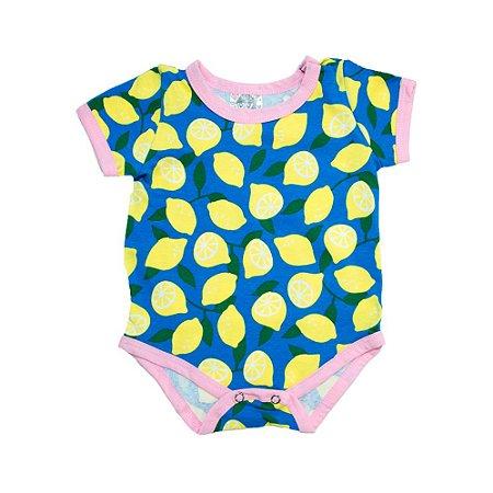 Body Bebê Limão Elô Azul Com Amarelo