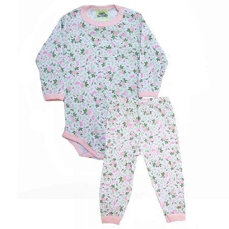 Conjunto Bebê Florzinhas  Jeito Inocente Rosa e Verde