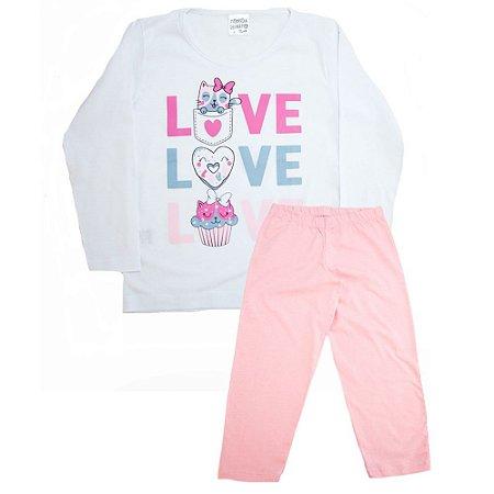 Pijama Infantil Love Panna Cotta Branco Com Rosa