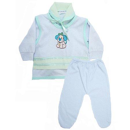 Conjunto Bebê Pagão Radani Branco E Verde