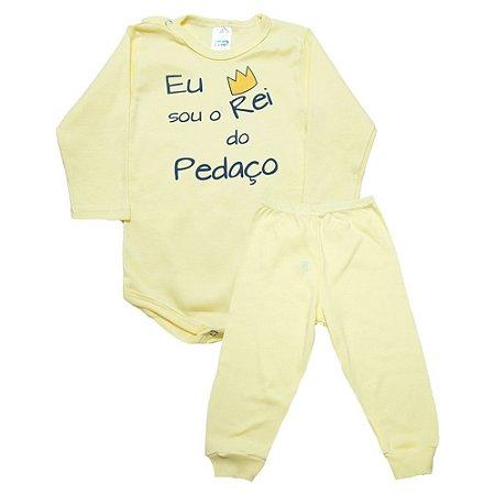 Conjunto Bebê Body Rei Do Pedaço Pho Amarelo Com Marinho