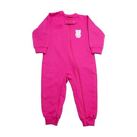 Macacão Bebê Ursinha Com Zíper Jeito Infantil Pink