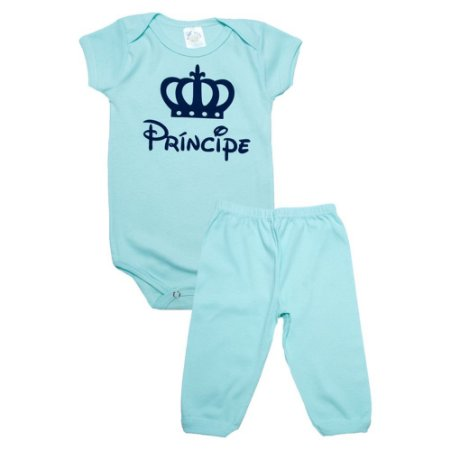 Conjunto Bebê Body Príncipe Meu Bebê Verde